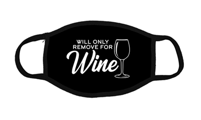 Face Mask Unisex Black Cotton Will Remove For Wine