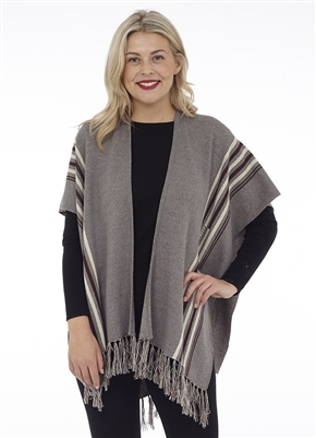 Cottage Collection Stripe Accented Fringe Cape with Leaf Back Grey Melange OS