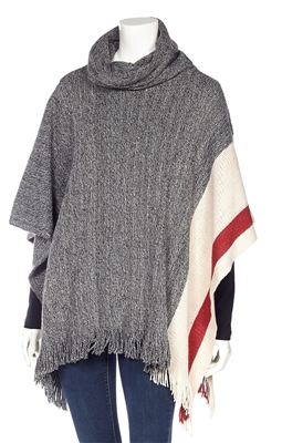 Cottage Collection Cowl Neck Poncho Cape with Contrast Stripe Hem and Fringe Grey OS