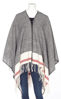 Cottage Collection Button Closure Fringe Cape Grey OS