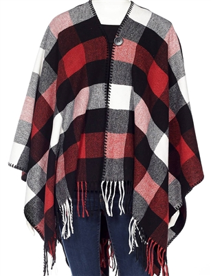 Cottage Collection Button Closure Checkered Cape Black Red White OS