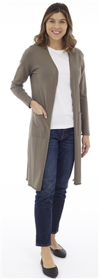 Long Body Army Open Cardigan with Patch Pockets