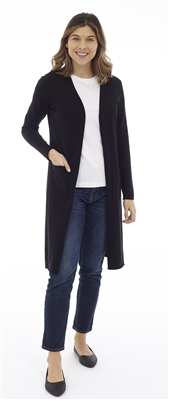 Long Body Black Open Cardigan with Patch Pockets