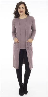 Long Body Mulberry Open Cardigan with Patch Pockets
