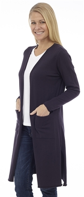 Long Body Navy Open Cardigan with Patch Pockets