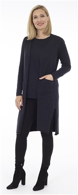 Long Body Navy Melange Open Cardigan with Patch Pockets