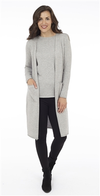 Long Body Silver Melange Open Cardigan with Patch Pockets