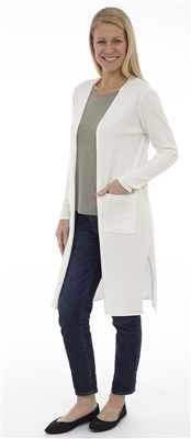 Long Body White Open Cardigan with Patch Pockets