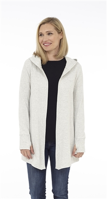 Long sleeve grey hooded open cardigan with pockets