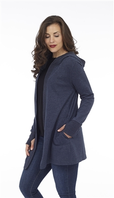 Long sleeve navy hooded open cardigan with pockets