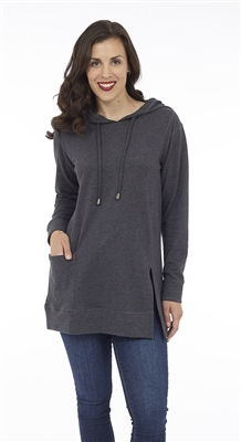 Hooded Tunic Charcoal Melange with pocket