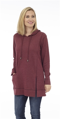 Hooded Tunic Dark Red Melange with pocket