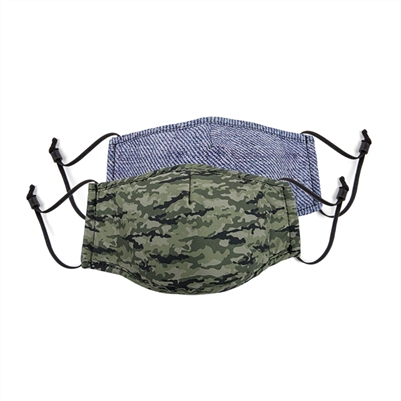 Face Mask Junior Set of 2 Camo Denim + 1 Filter and Adjustable Nose and Ear