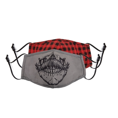 Face Mask Junior Set of 2 Skull and Plaid + 1 Filter and Adjustable Nose and Ear
