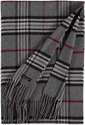 Scarf Cashmink Oversized Plaid Mid Grey