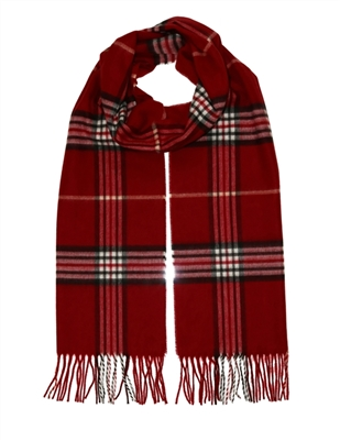 Scarf Cashmink Oversized Plaid Red