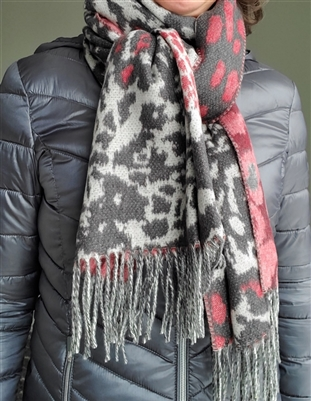 Scarf Cashmink Oversized Animal Collage Charcoal
